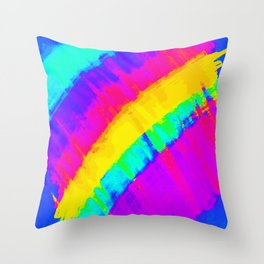 Bright Colorful Abstract Brushstroke Rainbow Throw Pillow
