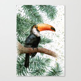 Toucan watercolor palm leaves print Canvas Print