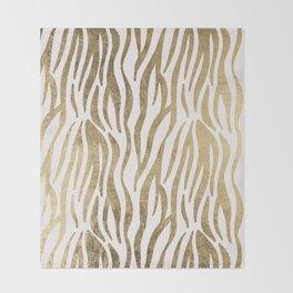 Chic faux gold white modern zebra animal print pattern Throw Blanket