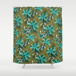 Snake Palms - Light Teal Mustard Shower Curtain