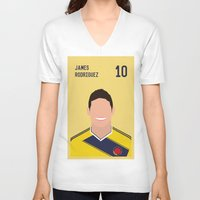 james franco V-neck T-shirts featuring JAMES by Anthony Morell