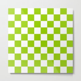 Damier 3 green and white Metal Print