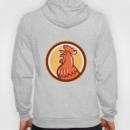 Chicken Rooster Head Crowing Circle Retro Hoody