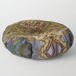 Green/Gold Ceiling Tile (Abstract) Floor Pillow