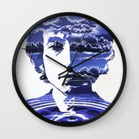 dylan Wall Clocks featuring Dylan by Alex Carlson