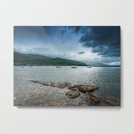 Lake, Mountains, and Clouds Metal Print