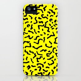 Retro Style Eighties Yellow and Black Repated Pattern iPhone Case