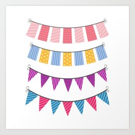 set of color buntings for party Art Print