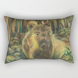 Wild pig in the wood Rectangular Pillow