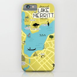 Around Lake Merritt, Oakland Map iPhone Case