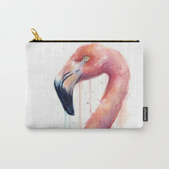Flamingo Art Watercolor Carry-All Pouch