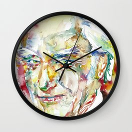 FRANCIS CRICK - watercolor portrait Wall Clock