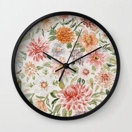 Loose Pastel Dahlia Watercolor Bouquet Wall Clock