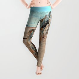 Wharf Remains on the Beach Leggings