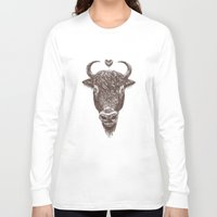bison Long Sleeve T-shirts featuring bison by adi katz