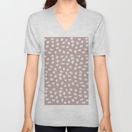 Simply Ink Splotch Lunar Gray on Clay Pink Unisex V-Neck