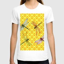 DRAGONFLIES PATTERNED YELLOW-BROWN ORIENTAL SCREEN T-shirt