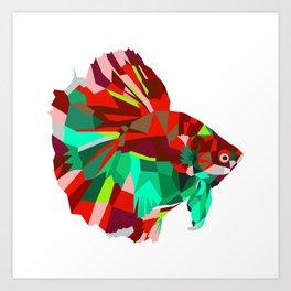 Betta fish Geometric artwork Art Print