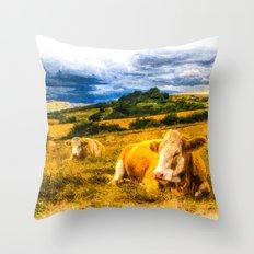 Resting Heifers Art Throw Pillow