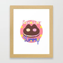 Cookie Cat! [text] Framed Art Print