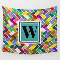 monogram Wall Tapestries featuring W Monogram by mailboxdisco