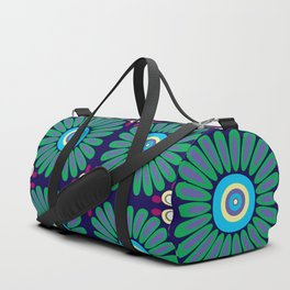 Green and Purple Daises Duffle Bag