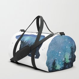 Forest Bear Silhouette Watercolor Galaxy Duffle Bag