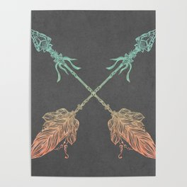 Tribal Arrows Turquoise Coral Gradient on Gray Poster