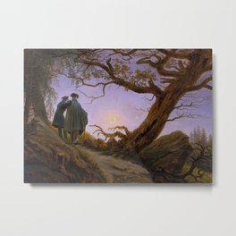 Two men Contemplating the Moon Metal Print
