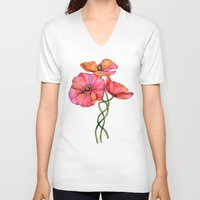 peach V-neck T-shirts featuring Peach & Pink Poppy Tangle by micklyn