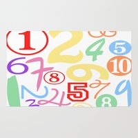 numbers Area & Throw Rugs featuring Colorful Numbers by Sweet Colors Gallery