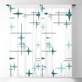 Mid Century Modern Stars (Teal) Blackout Curtain