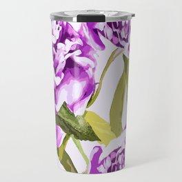 Peonies on a white background - #Society6 #buyart Travel Mug