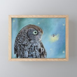 Owl and Lightning Bugs Framed Mini Art Print