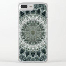 Silver geometric mandala Clear iPhone Case