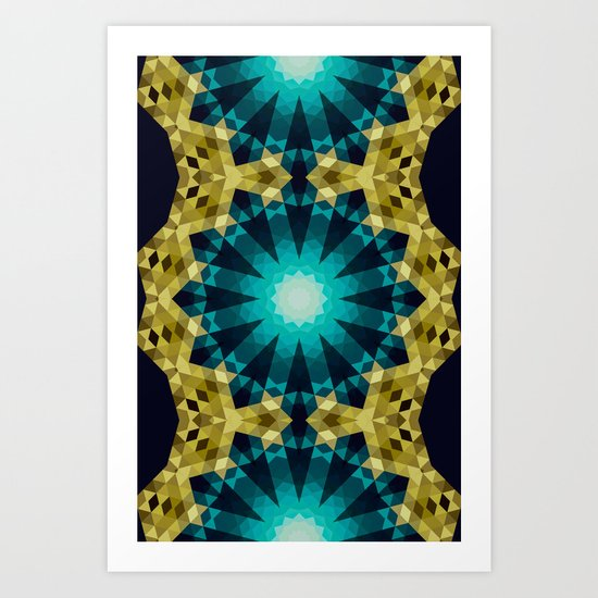 Greenish Blue Shapes Art Print