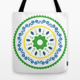 Green suzani inspired floral round placement Tote Bag