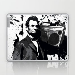 ABRAHAM LINCOLN INK SPLASH MAKE MUSIC NOT WAR Laptop & iPad Skin