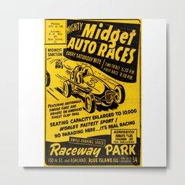 Midget Auto Races, Race poster, vintage poster Metal Print