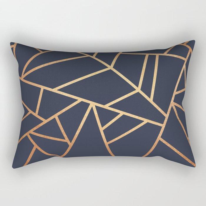 Copper and Midnight Navy Rectangular Pillow