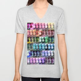 The Dancer Colorful Rainbow Collage Unisex V-Neck