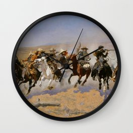 """Frederic Remington Western Art """"Dash For The Timber"""" Wall Clock"""
