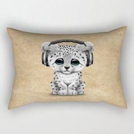 Cute Snow leopard Cub Dj Wearing Headphones Rectangular Pillow