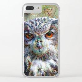Dream Creatures, Eagle Owl, DeepDream Clear iPhone Case