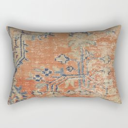 Vintage Woven Navy and Orange Rectangular Pillow