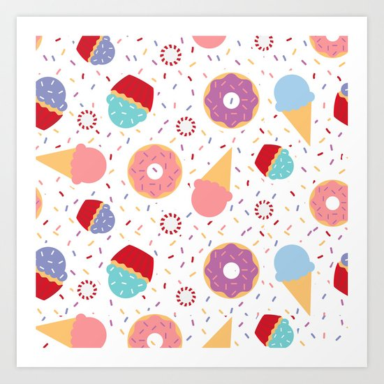 Donuts party Art Print