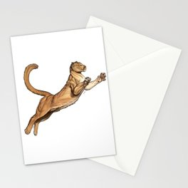 Leaping puma Stationery Cards