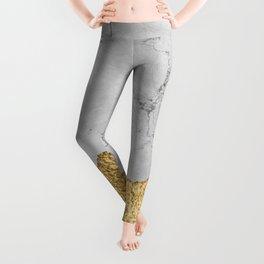 Gold torn & Grey marble Leggings