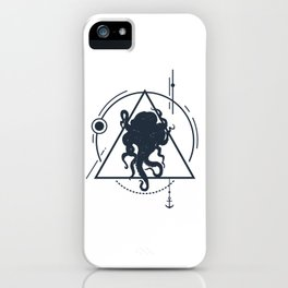 Inspirational Illustration With Octopus In Geometric Style iPhone Case