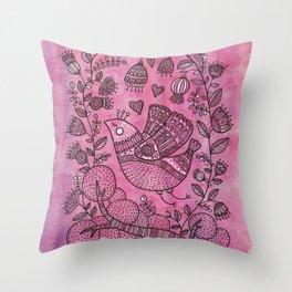 Pink birdie Throw Pillow